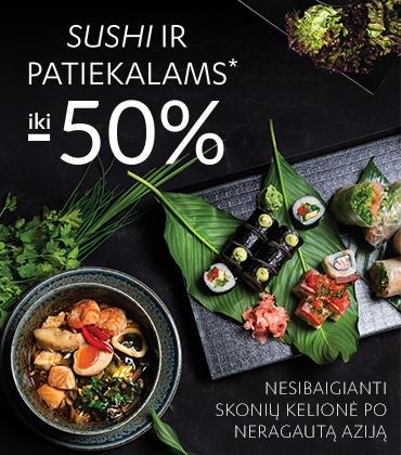 Sushi ir patiekalams iki -50%